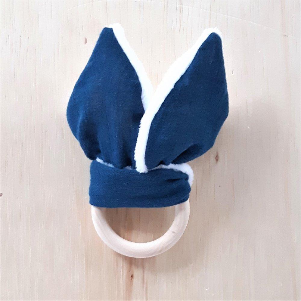Anneau de dentition double gaze bleu marine et doudou blanc tout doux--2226238760181