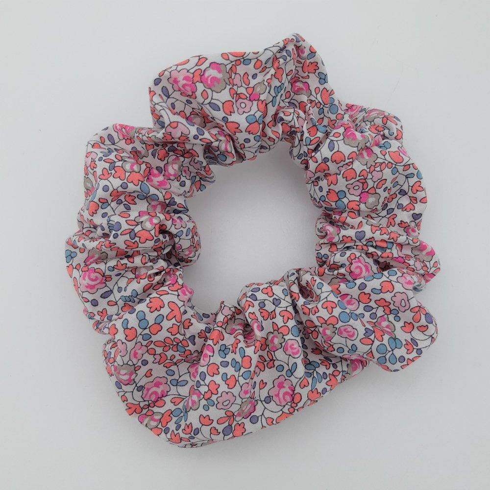 Chouchou cheveux scrunchie Liberty Eloise corail--2226180796764