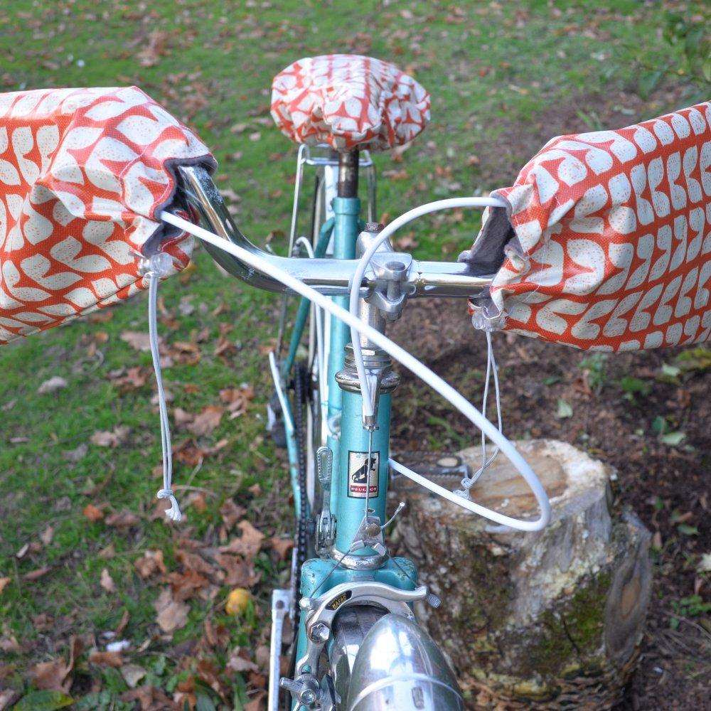 Protege mains guidon vélo impermeable enduit vintage et doublé polaire grise--2226206247584