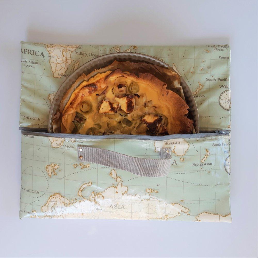 Sac à tarte isotherme et zip mappemonde--2226211792758