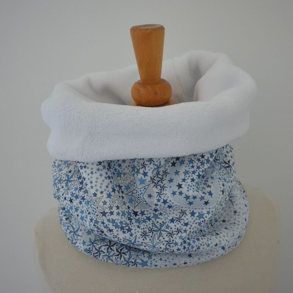 6 Snoods commande tour de cou Liberty of London Adelajda bleu et doudou blanc--9995415410456