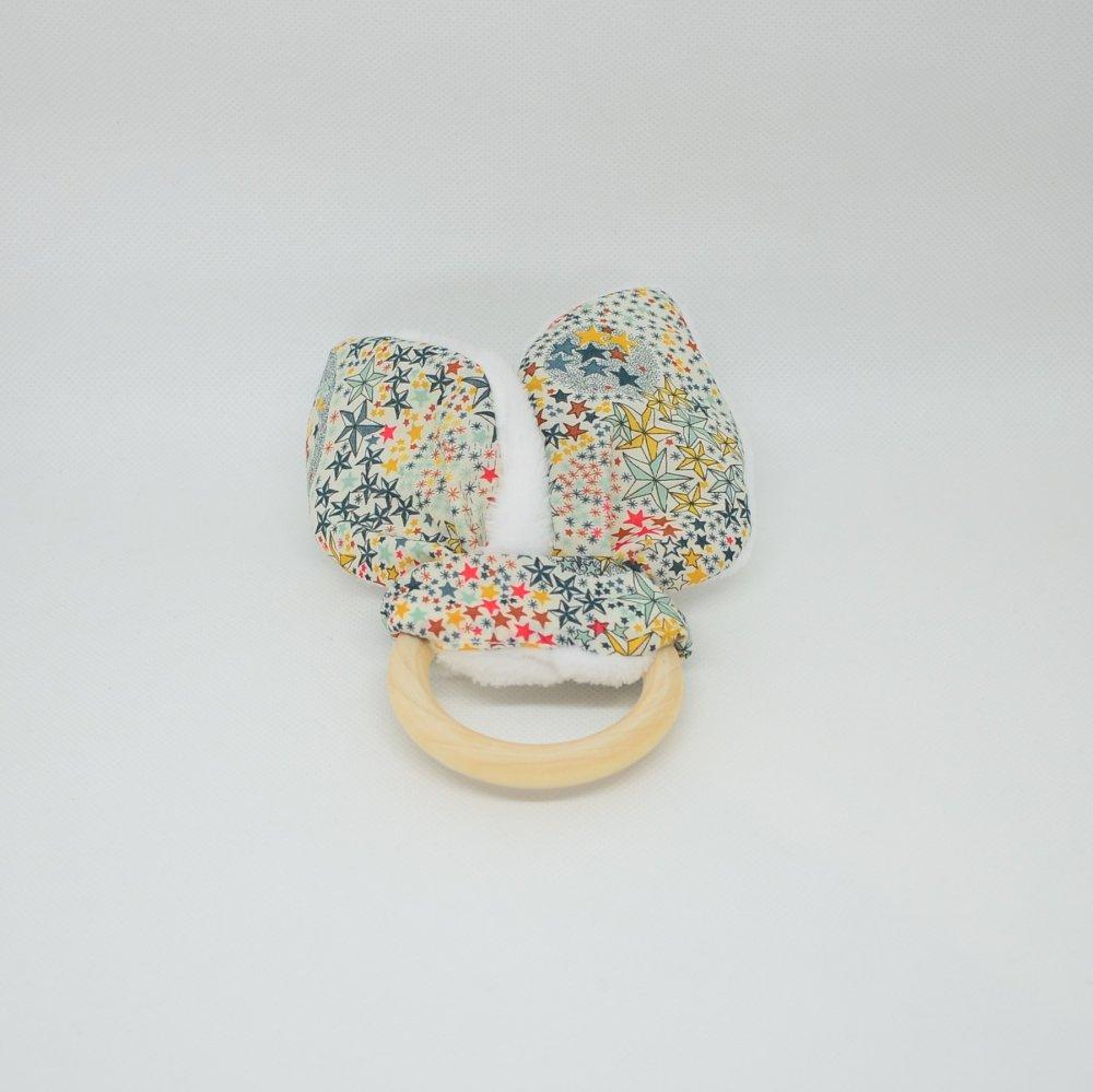 Anneau de dentition Liberty Adeladja multicolore et doudou blanc tout doux--9995571248788