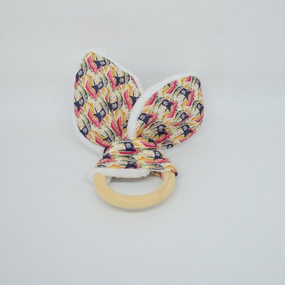 Anneau de dentition Liberty Samols rouge et doudou blanc tout doux--9995546417249