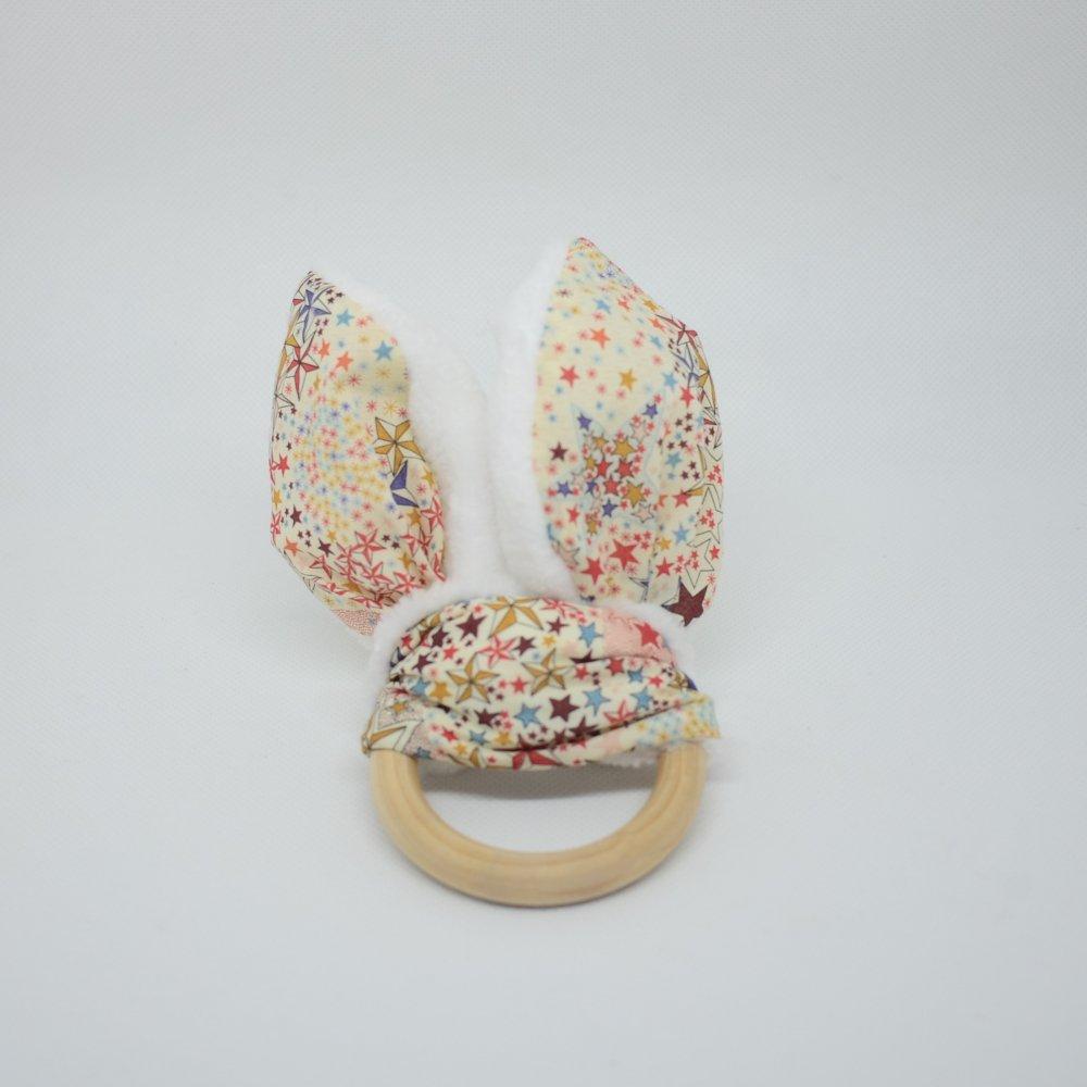 Anneau de dentition Liberty Adelajda terracotta et doudou blanc tout doux--9995546565988