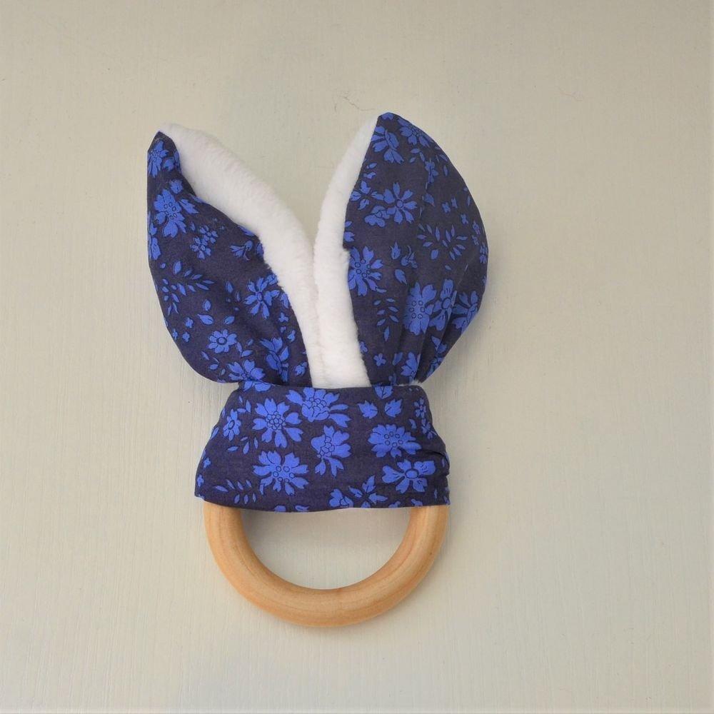 Anneau de dentition Liberty capel bleu nuit et doudou blanc tout doux--9995386377253