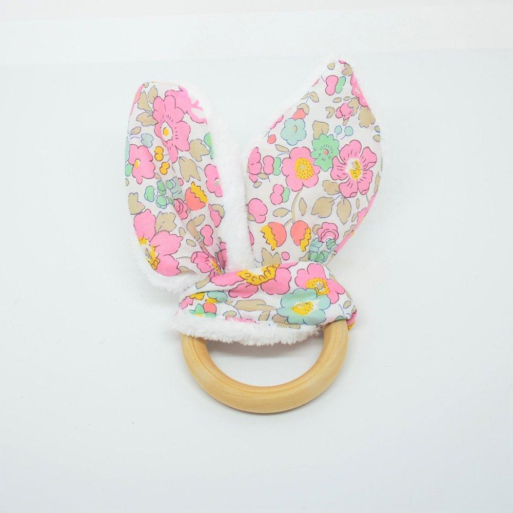 Anneau de dentition Liberty Betsy rose et doudou blanc tout doux--9995867615799