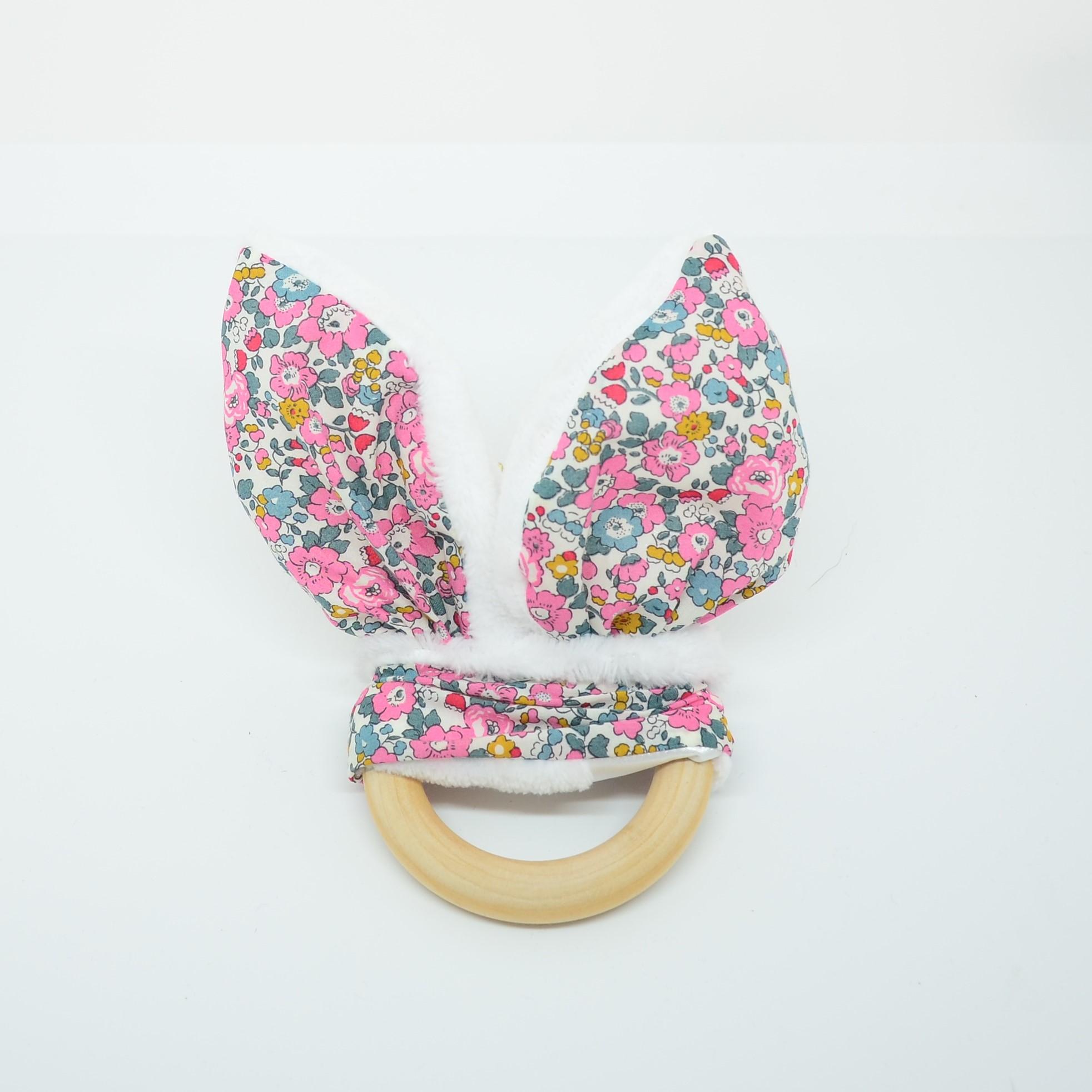 Anneau de dentition Liberty Betsy ann rose et doudou blanc tout doux--9995867782545