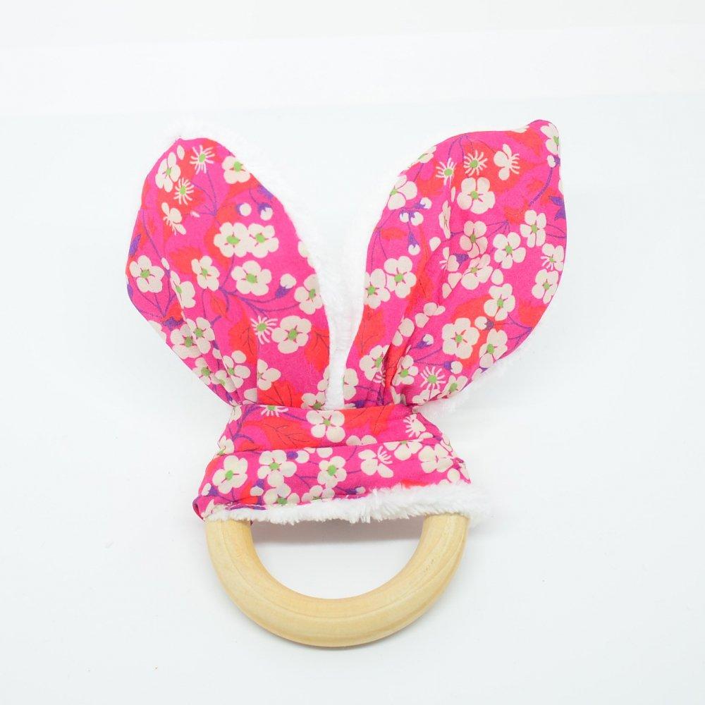 Anneau de dentition Liberty Mitsi rose et doudou blanc tout doux--9995867612514