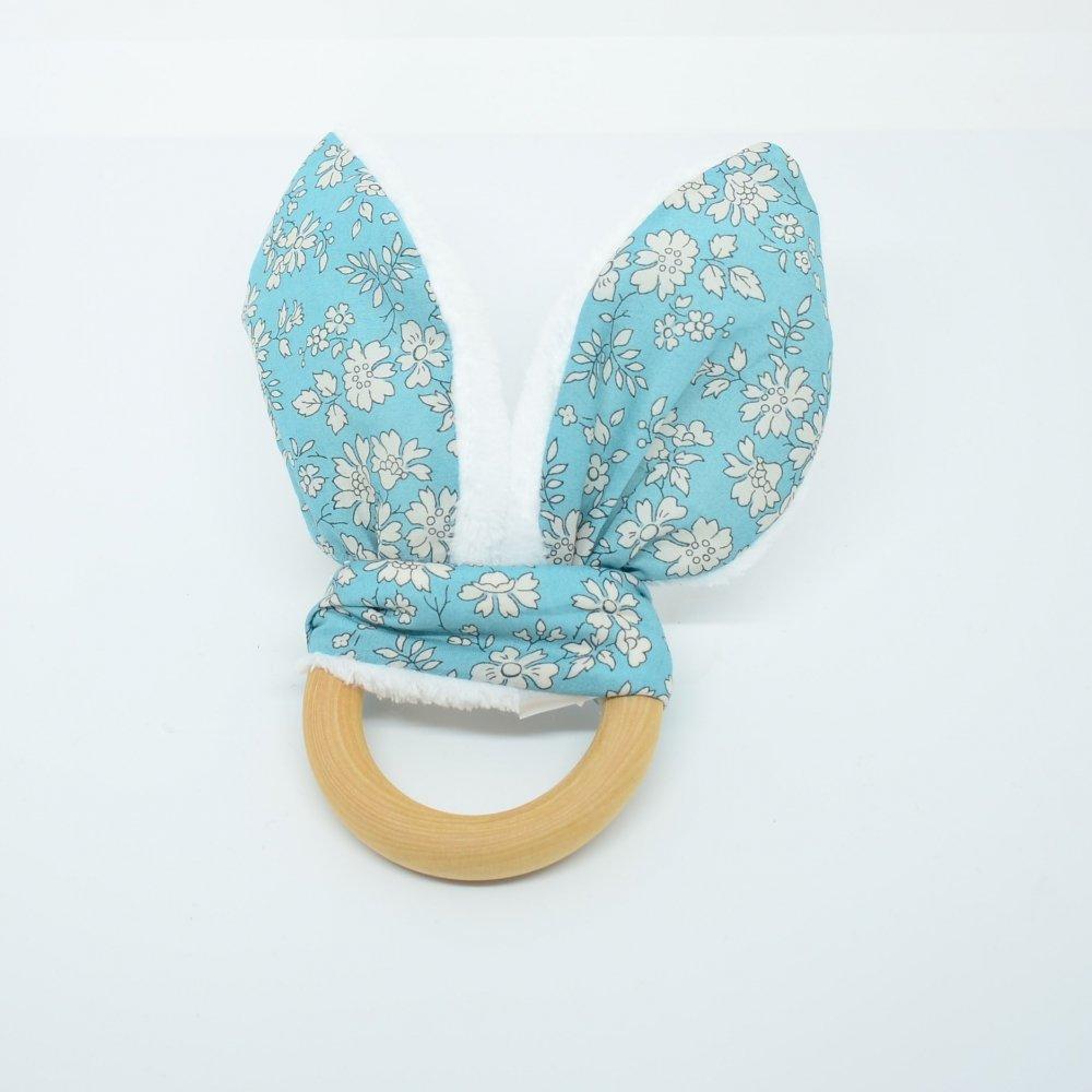 Anneau de dentition Liberty Capel turquoise et doudou blanc tout doux--9995867614549