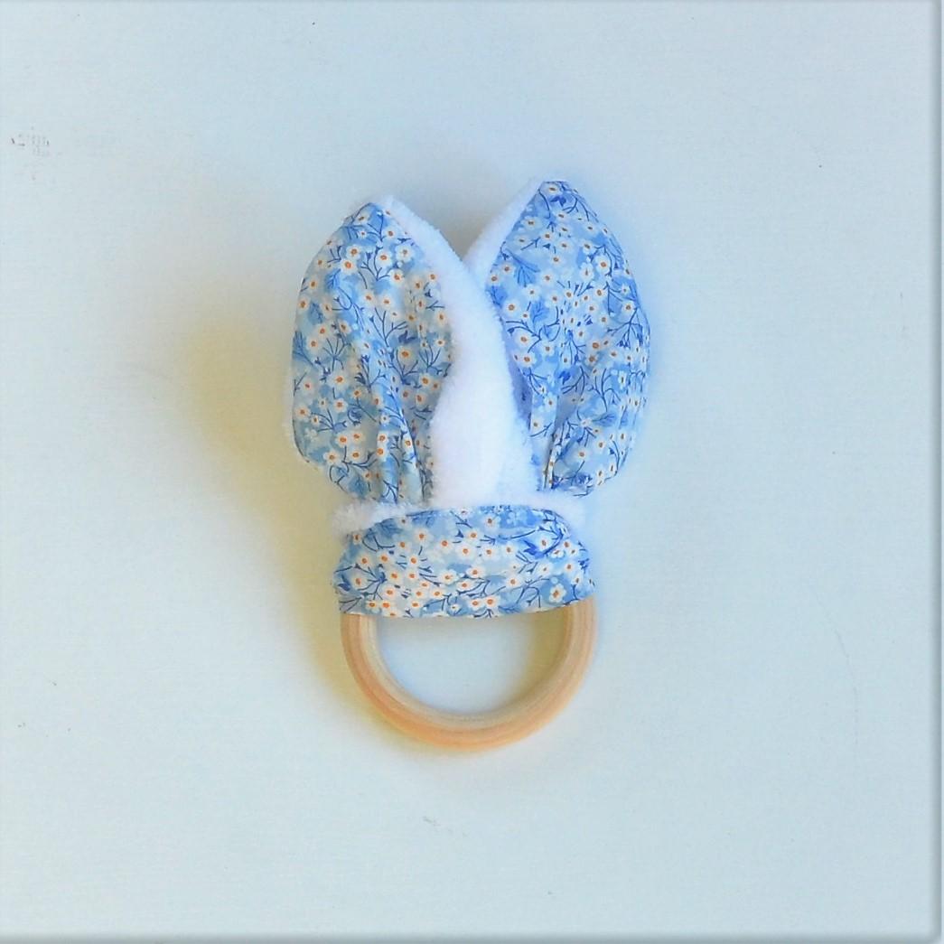 Anneau de dentition Liberty Mitsi valéria bleu et doudou blanc tout doux--9995510965127