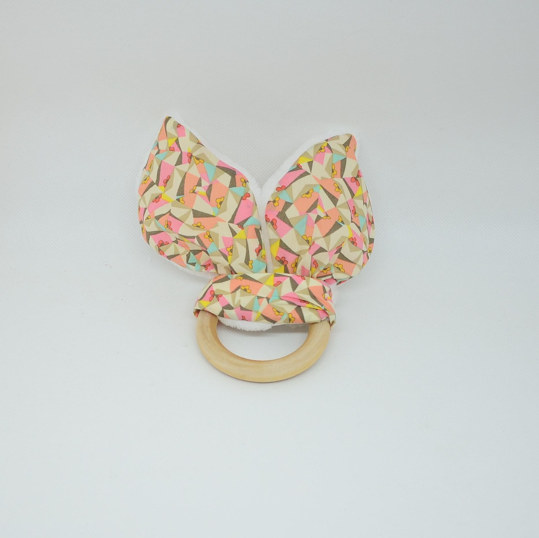 Anneau de dentition Liberty Poppy's patchwork et doudou blanc tout doux--9995552715360
