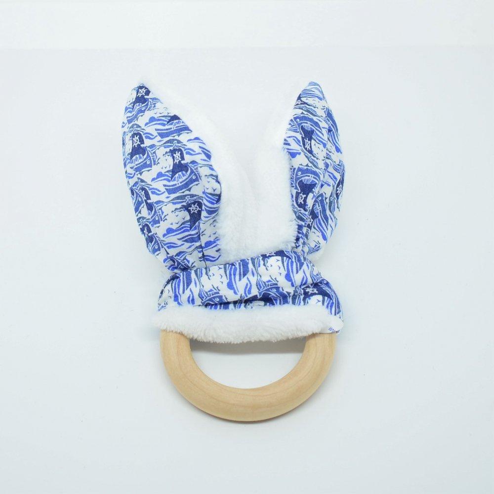 Anneau de dentition Liberty Samols bleu et doudou blanc tout doux--9995552710075