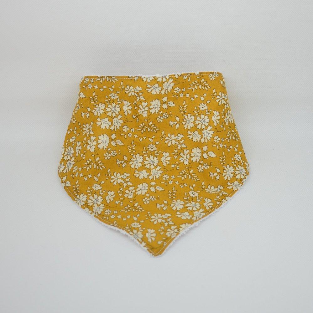 Bandana Bavette Liberty Capel moutarde et éponge blanche--9995346930092