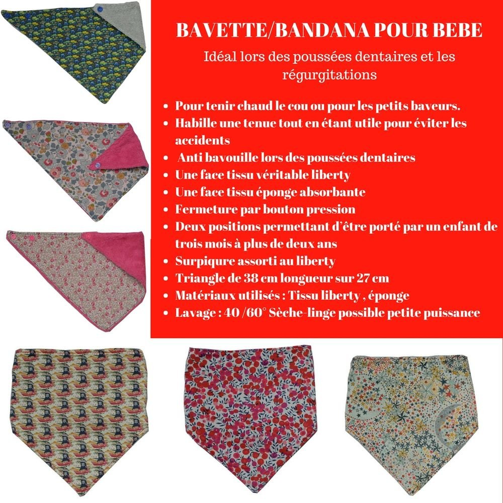 Bandana Bavette Liberty Danjo rouge et éponge blanche--9995346933130