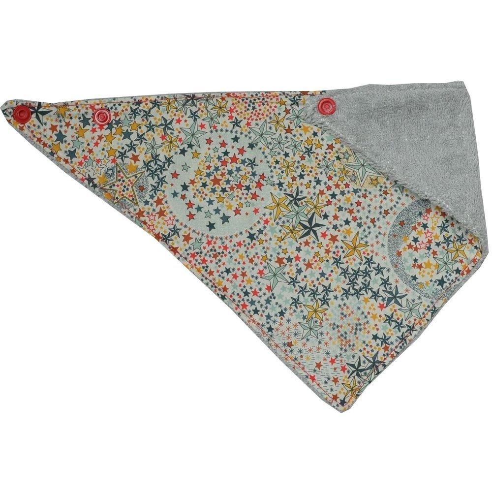 Bandana Bavette Liberty adelajda multicolore et éponge grise--9995231117881