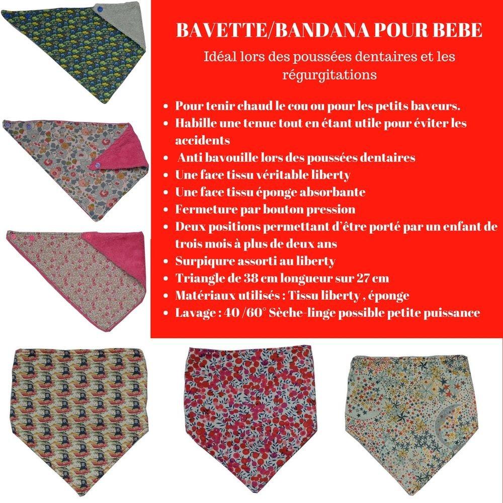 Bandana Bavette Liberty whiltshire rouge et éponge blanche--9995340793297