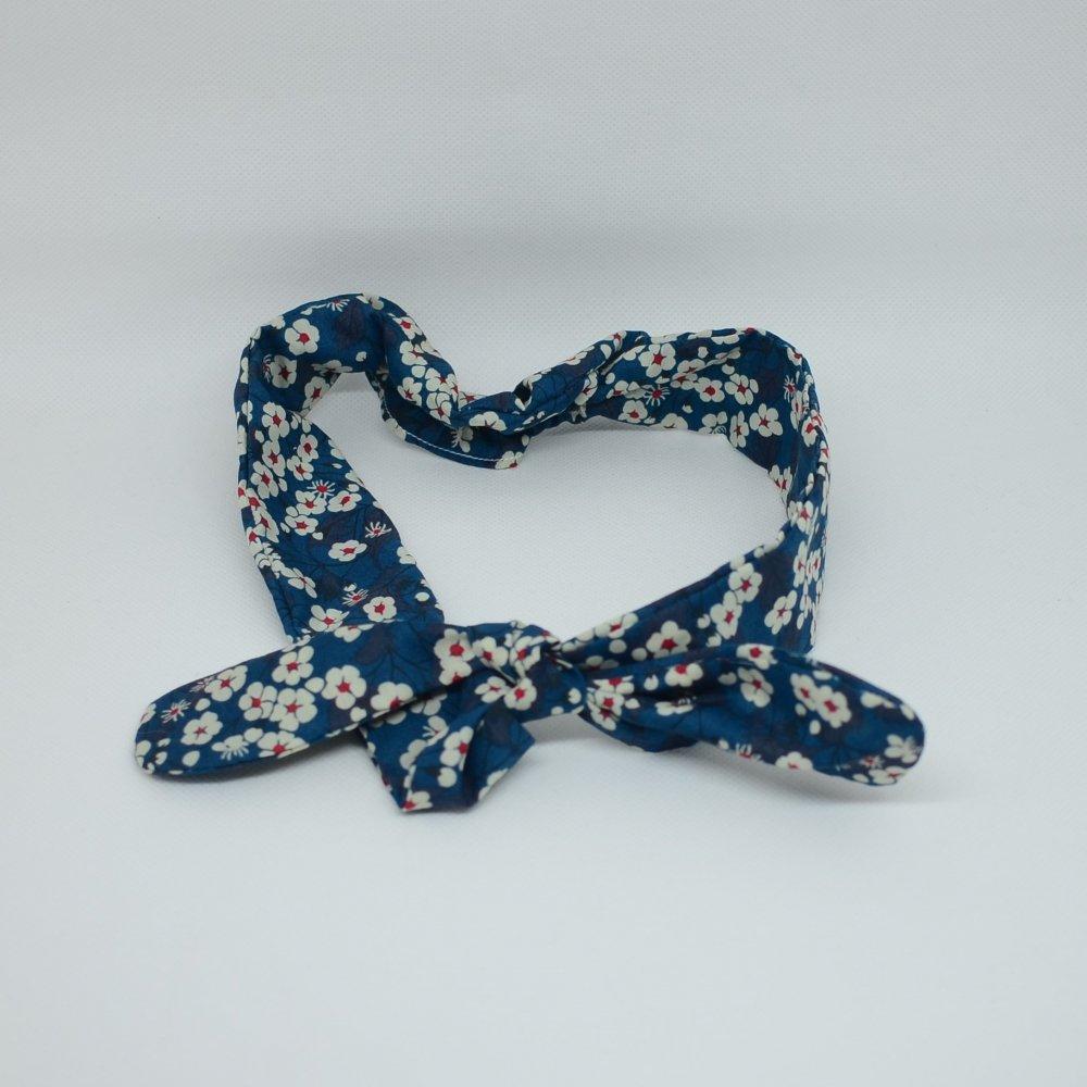 Bandeau à nouer taille ajustable  liberty Mitsi bleu--9995545813875