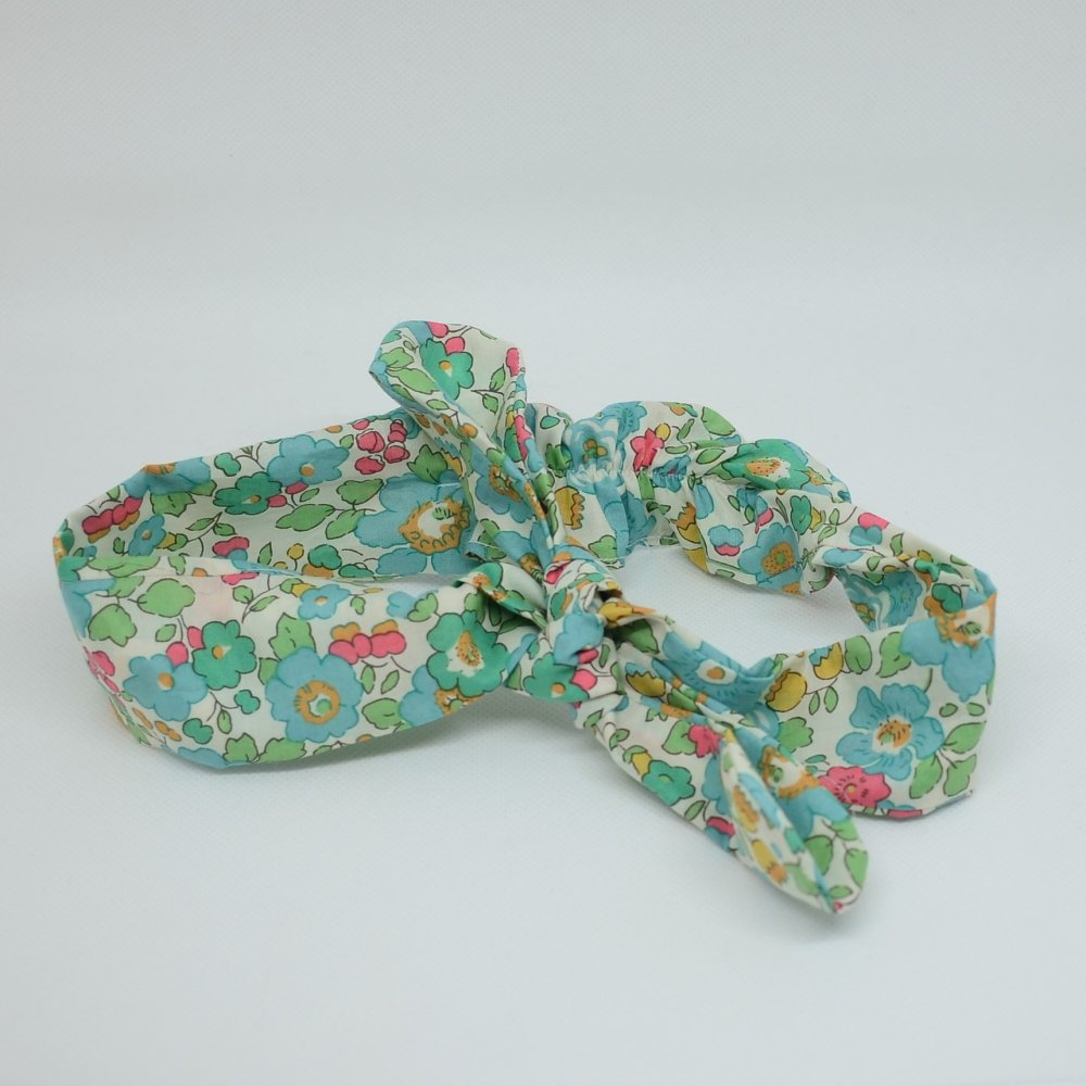 Bandeau à nouer taille ajustable liberty Betsy turquoise--9995545815558