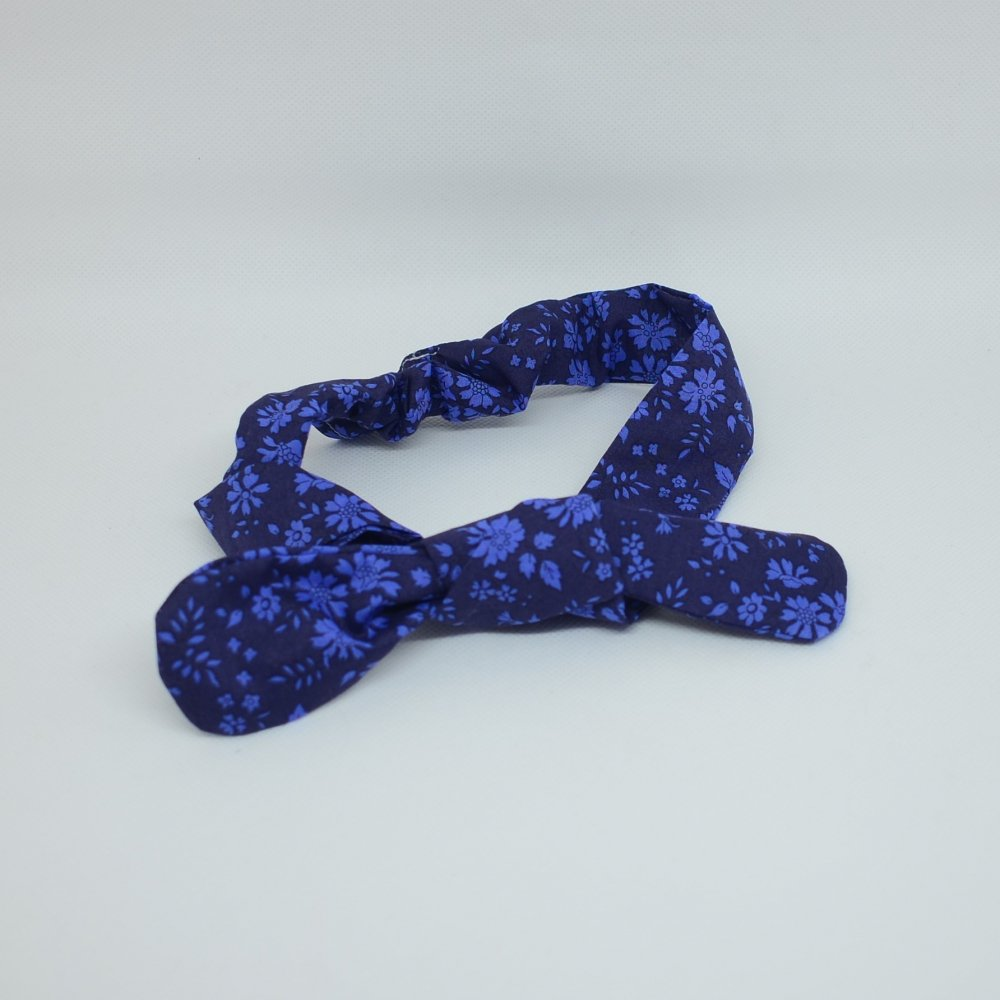 Bandeau à nouer taille ajustable liberty Capel bleu nuit--9995545812670