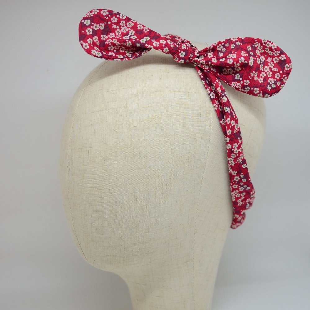 Bandeau à nouer taille ajustable liberty Mitsi valeria rouge--9995545814391