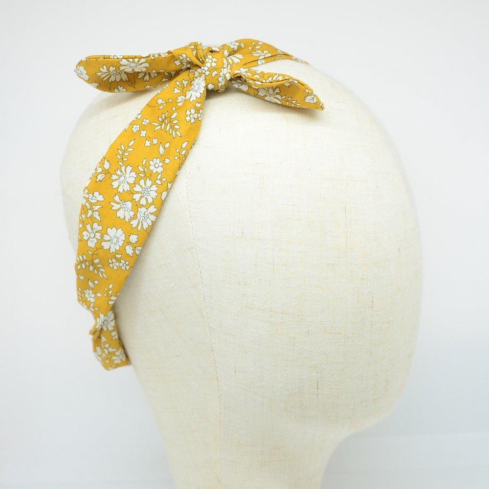 Bandeau à nouer taille ajustable liberty Capel moutarde--9995867830949