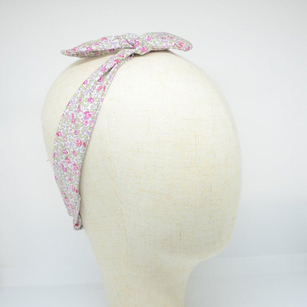 Bandeau à nouer taille ajustable liberty Eloise rose--9995867826324