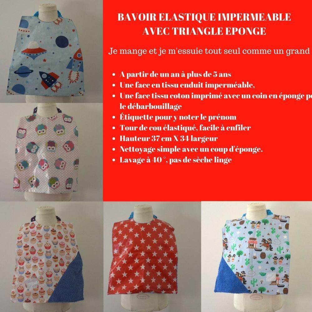 Bavoir Imperméable Réversible triangle éponge, animaux de la foret/Fusée--9995345967440