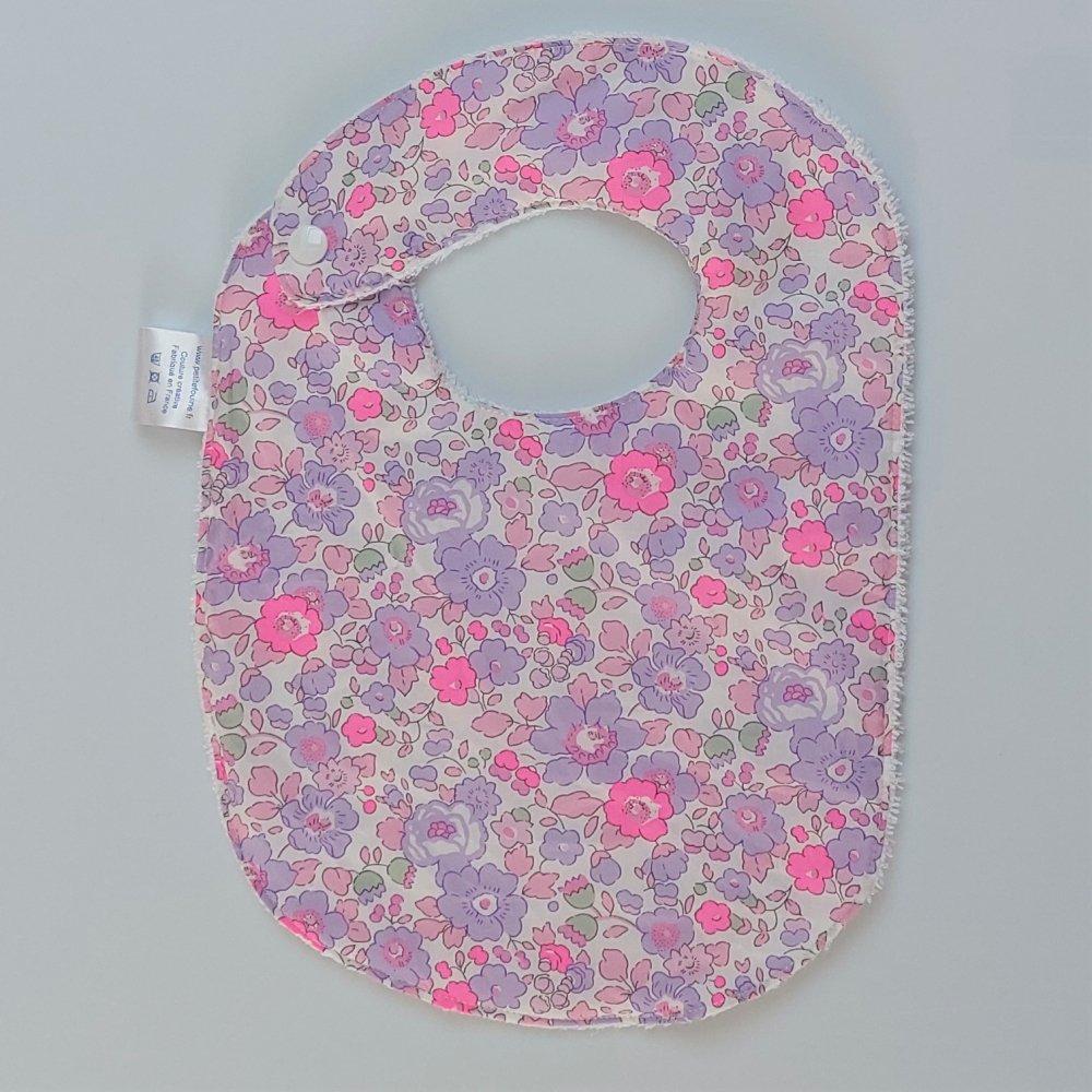 Bavoir première année Liberty Betsy neon purple et éponge blanche--2226317308709