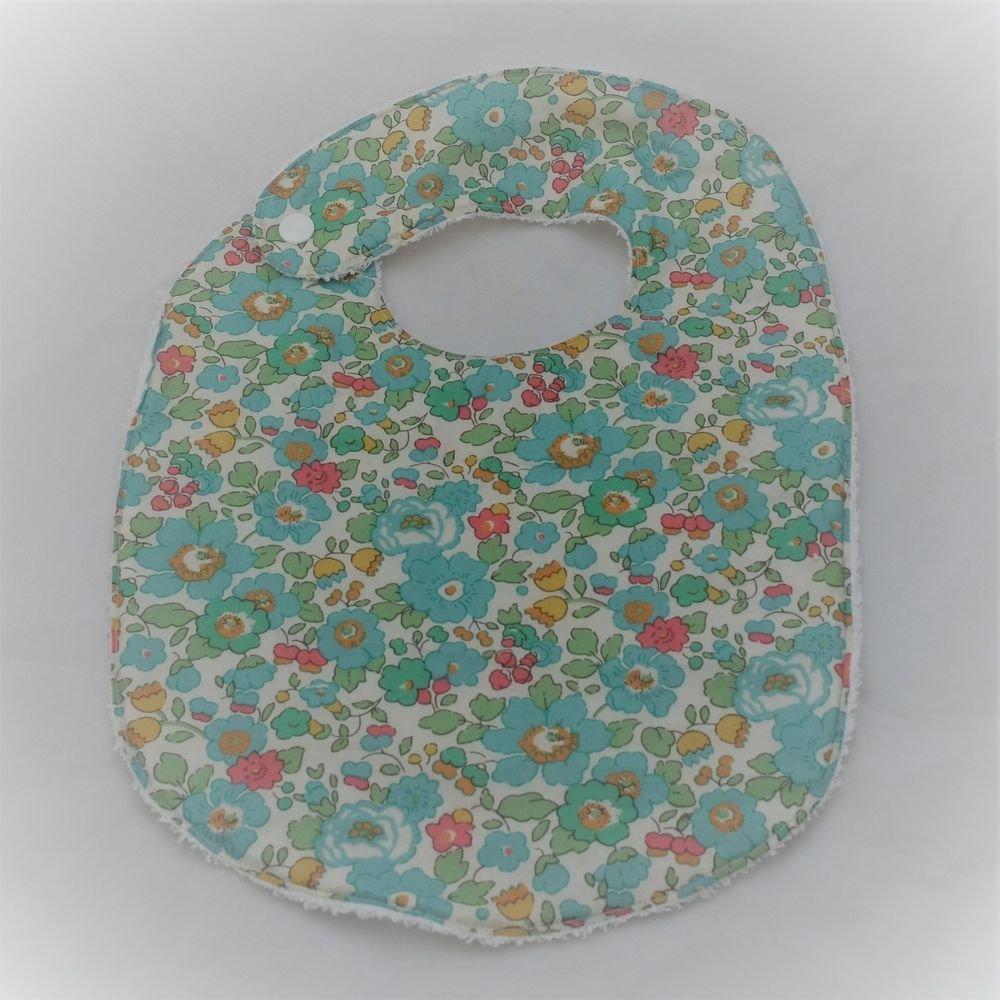Bavoir première année Liberty Betsy turquoise et éponge blanche--9995340832033