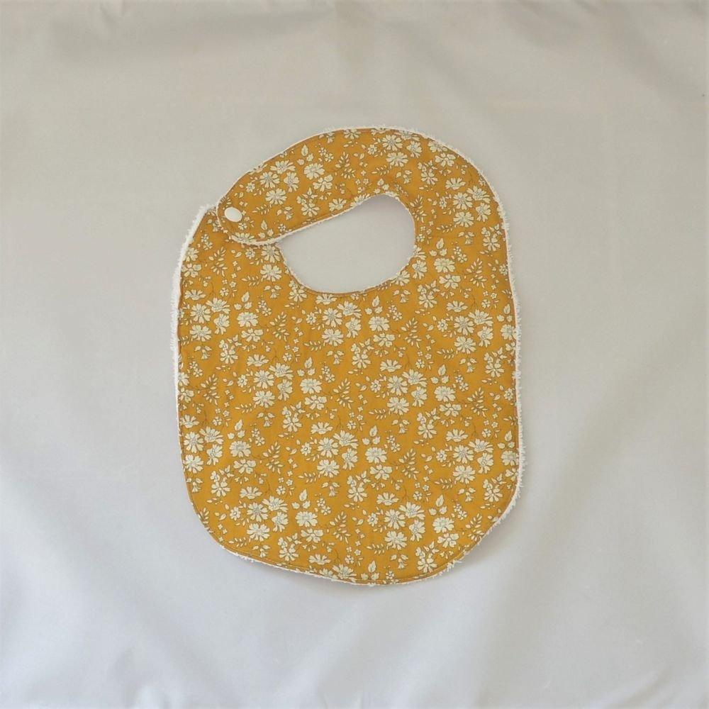 Bavoir première année Liberty Capel moutarde et éponge blanche--9995346939071