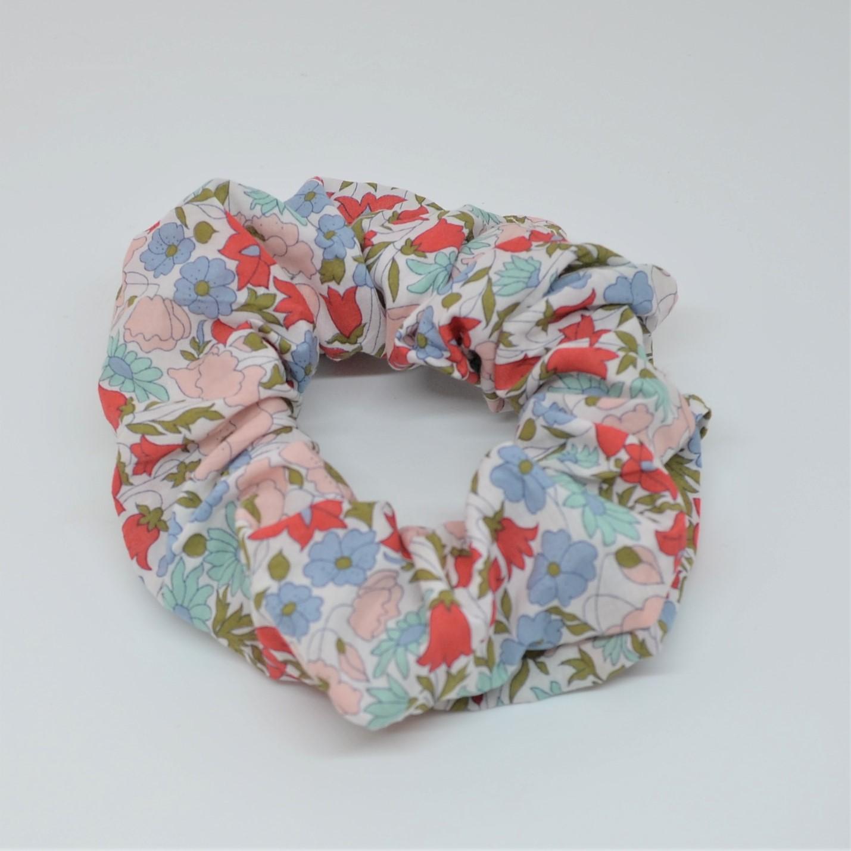 Chouchou cheveux scrunchie liberty Poppy and daisy rose poudre--9996013120266