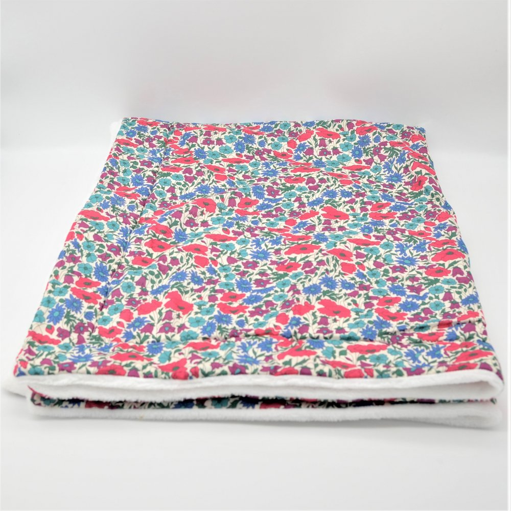 Couverture doudou Liberty Poppy and daisy canard--9996046051247