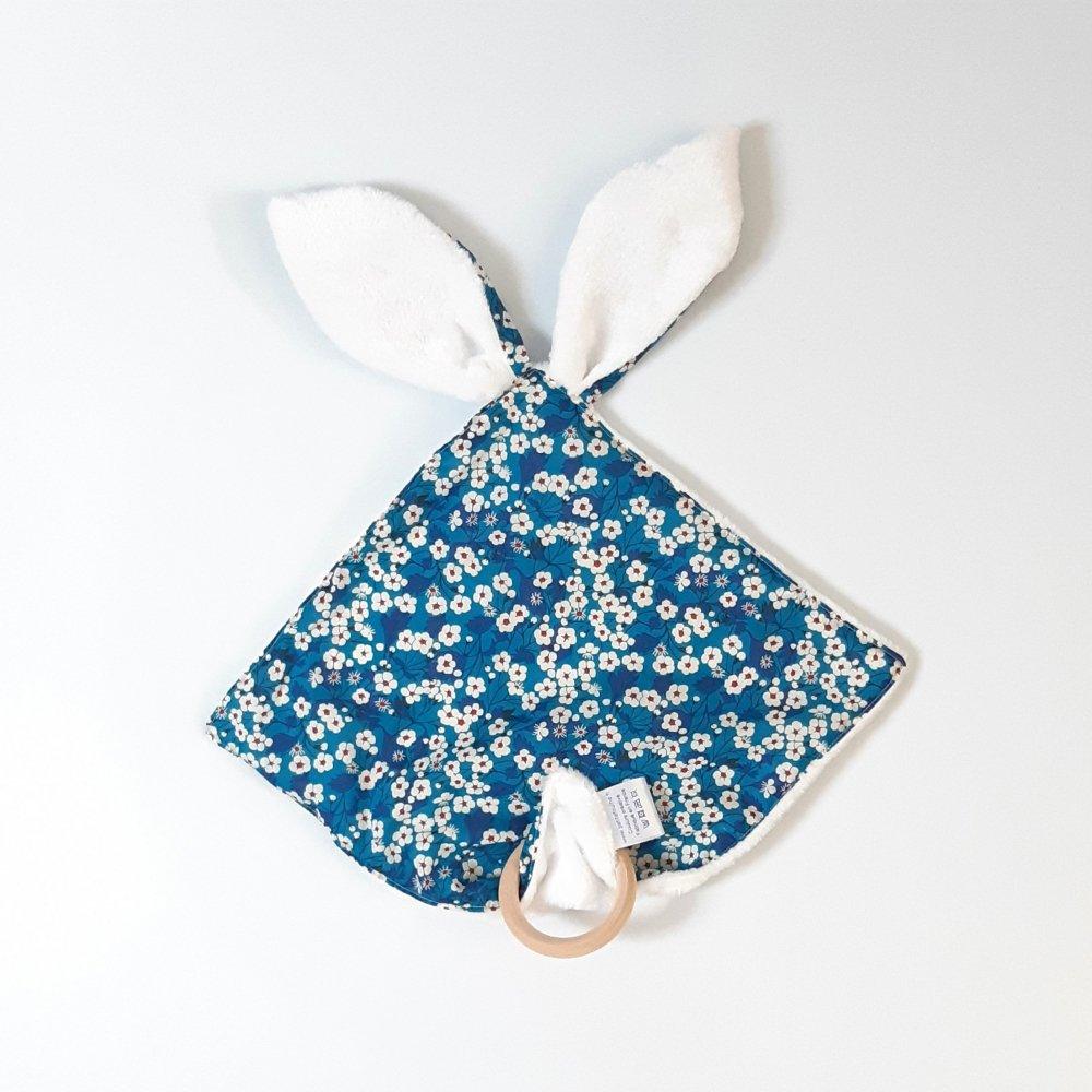 Doudou bébé 3 en 1 Liberty Mitsi blue--2226244817565