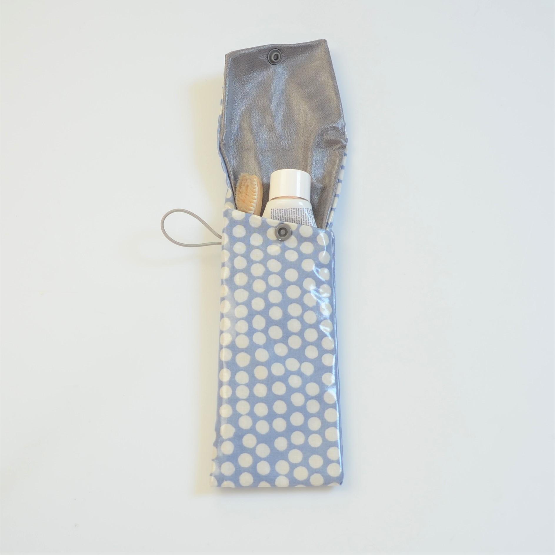 Etui imperméable pour brosse à dent et dentifrice bleu à pois--9995825787124