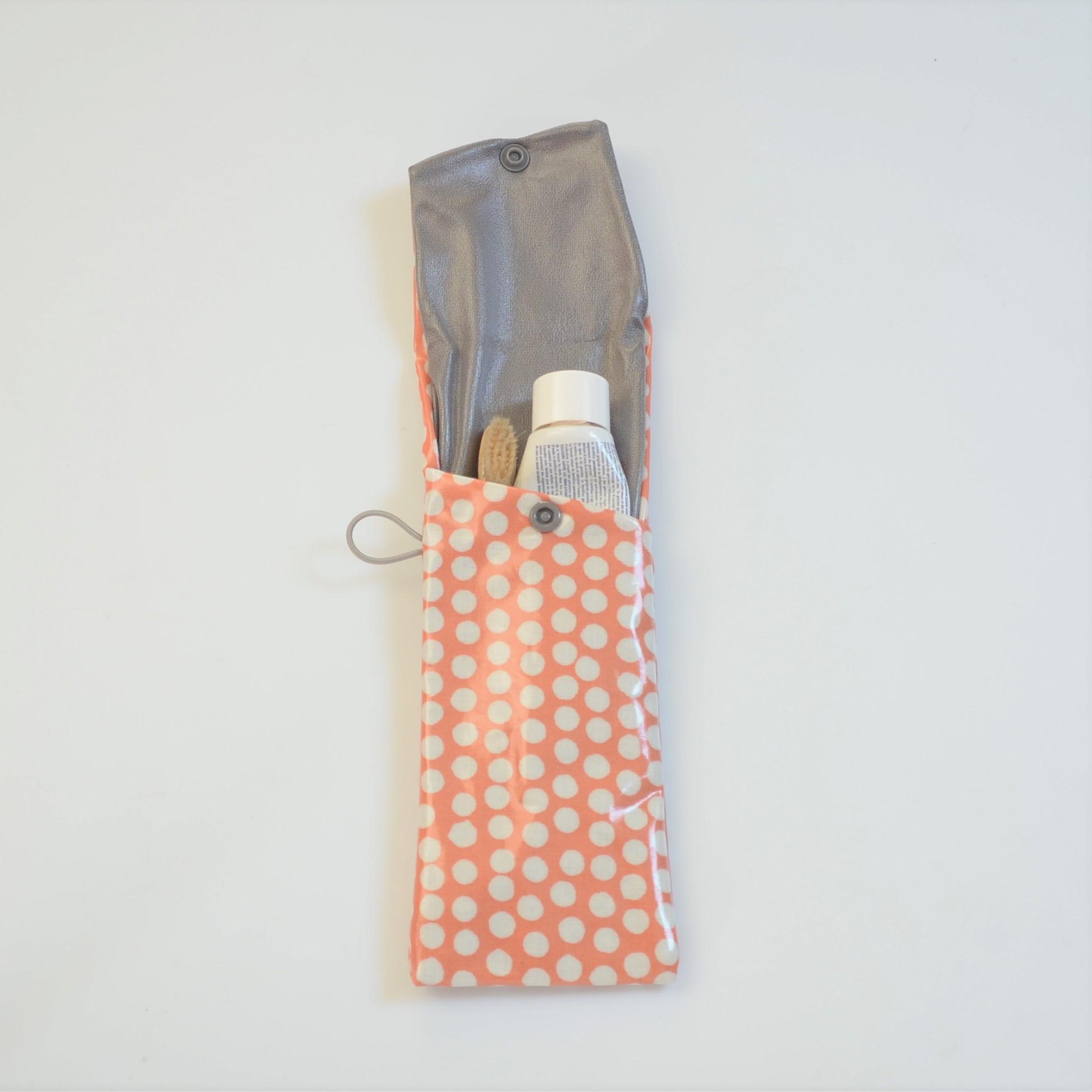 Etui imperméable pour brosse à dent et dentifrice orange à pois--9995825784413
