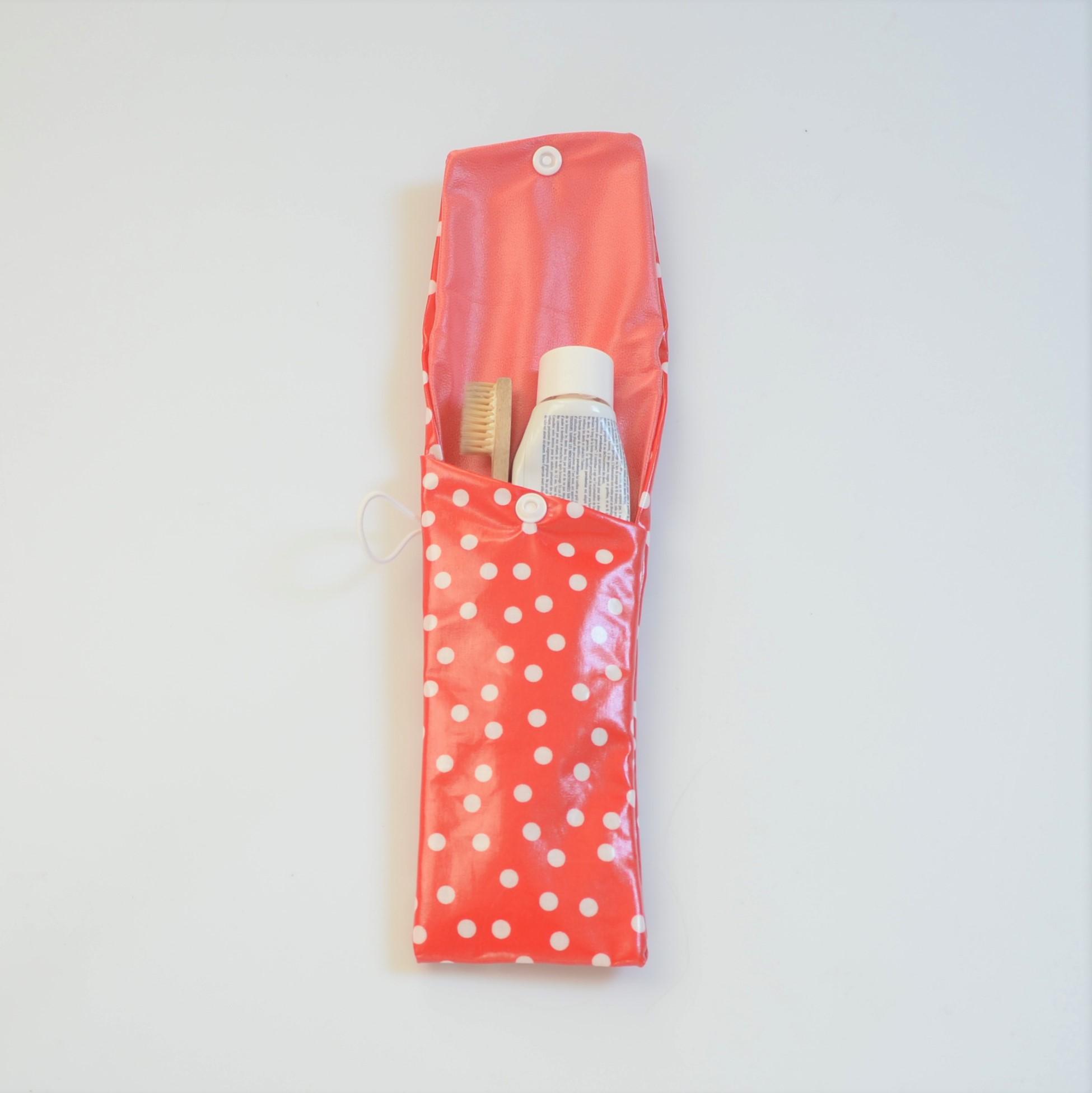 Etui imperméable pour brosse à dent et dentifrice à pois--9995825755451