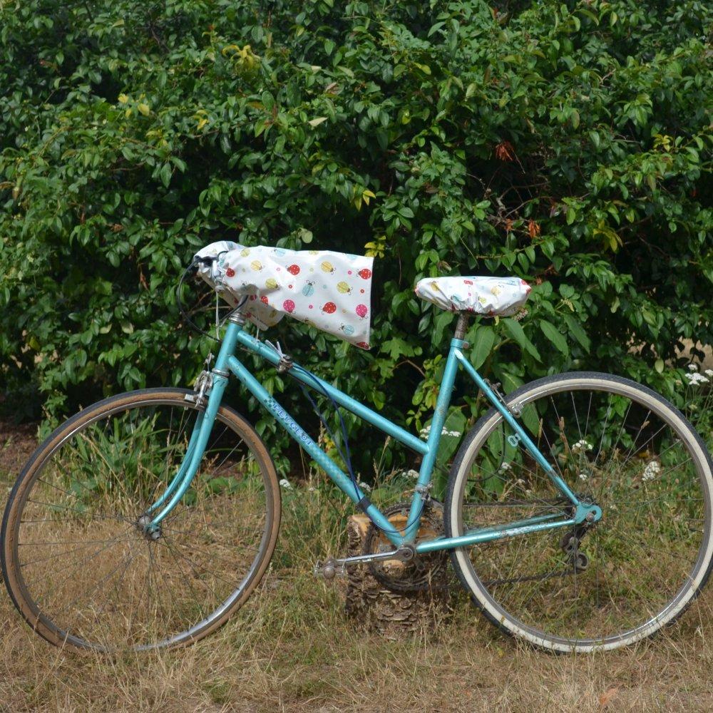 Housse pour selle de vélo, imperméable en tissu enduit coccinelle--9995971527674