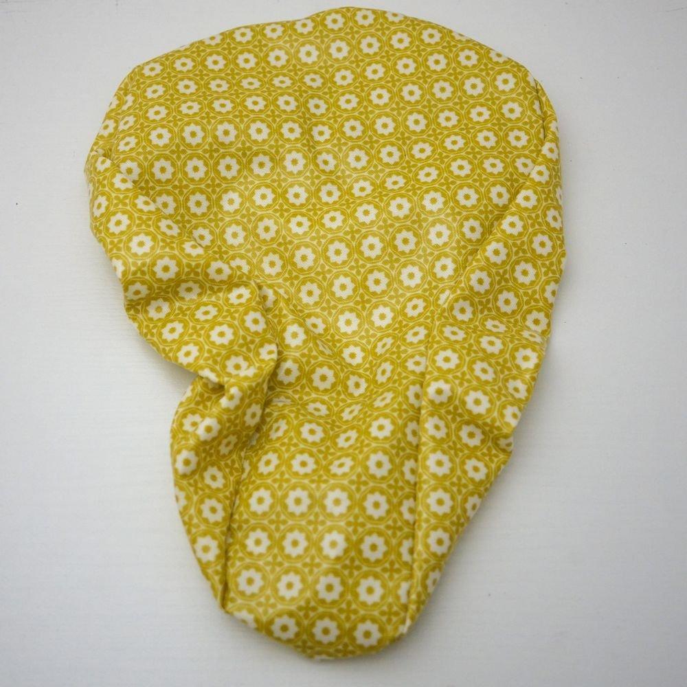Housse pour selle de vélo, imperméable en tissu enduit fleurs moutarde et blanc--9995232165386