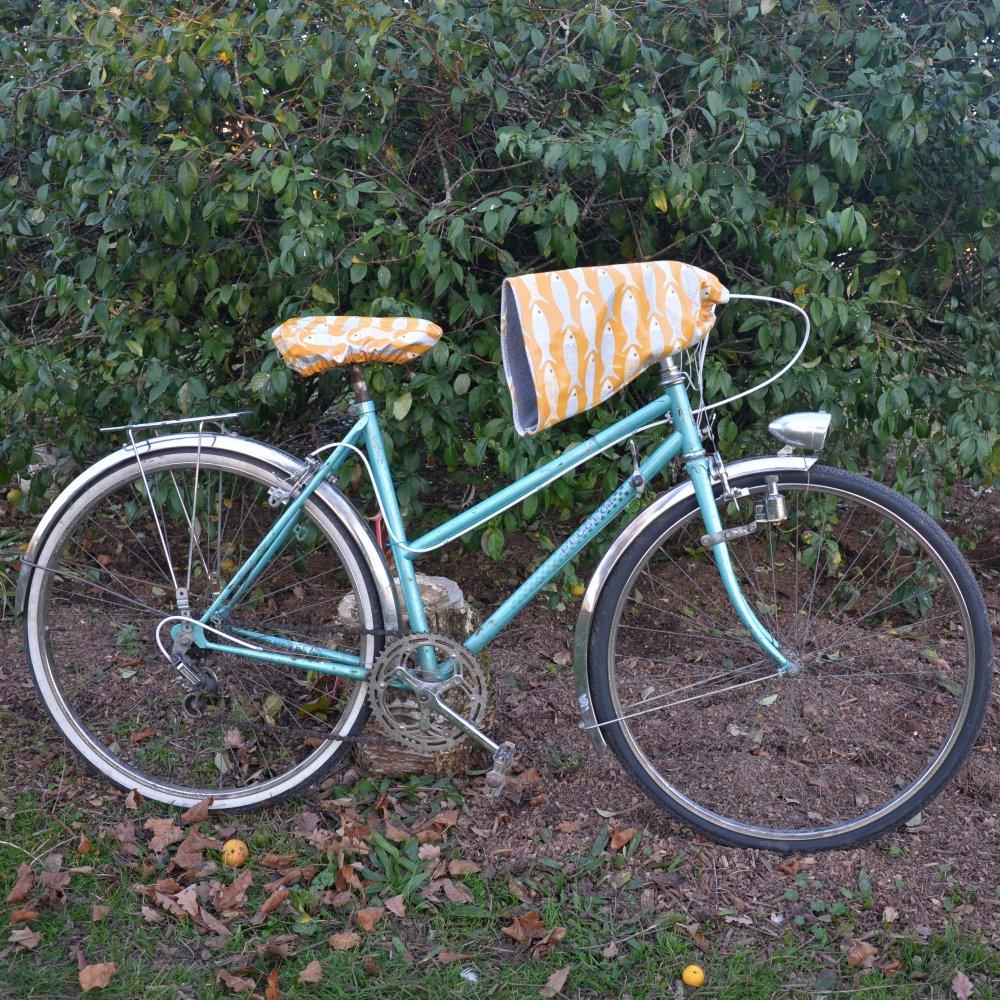 Housse pour selle de vélo, imperméable en tissu enduit moutarde poissons--9996044198753