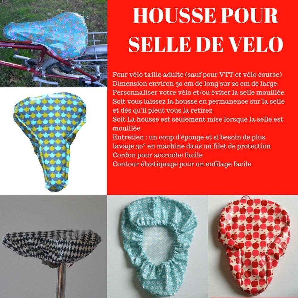 Housse pour selle de vélo, imperméable en tissu enduit bleu glacier motif fleurs--9995234756681