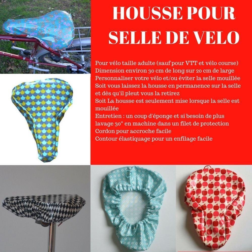 Housse pour selle de vélo, imperméable en tissu enduit pommes framboise et rouge--9995234723102