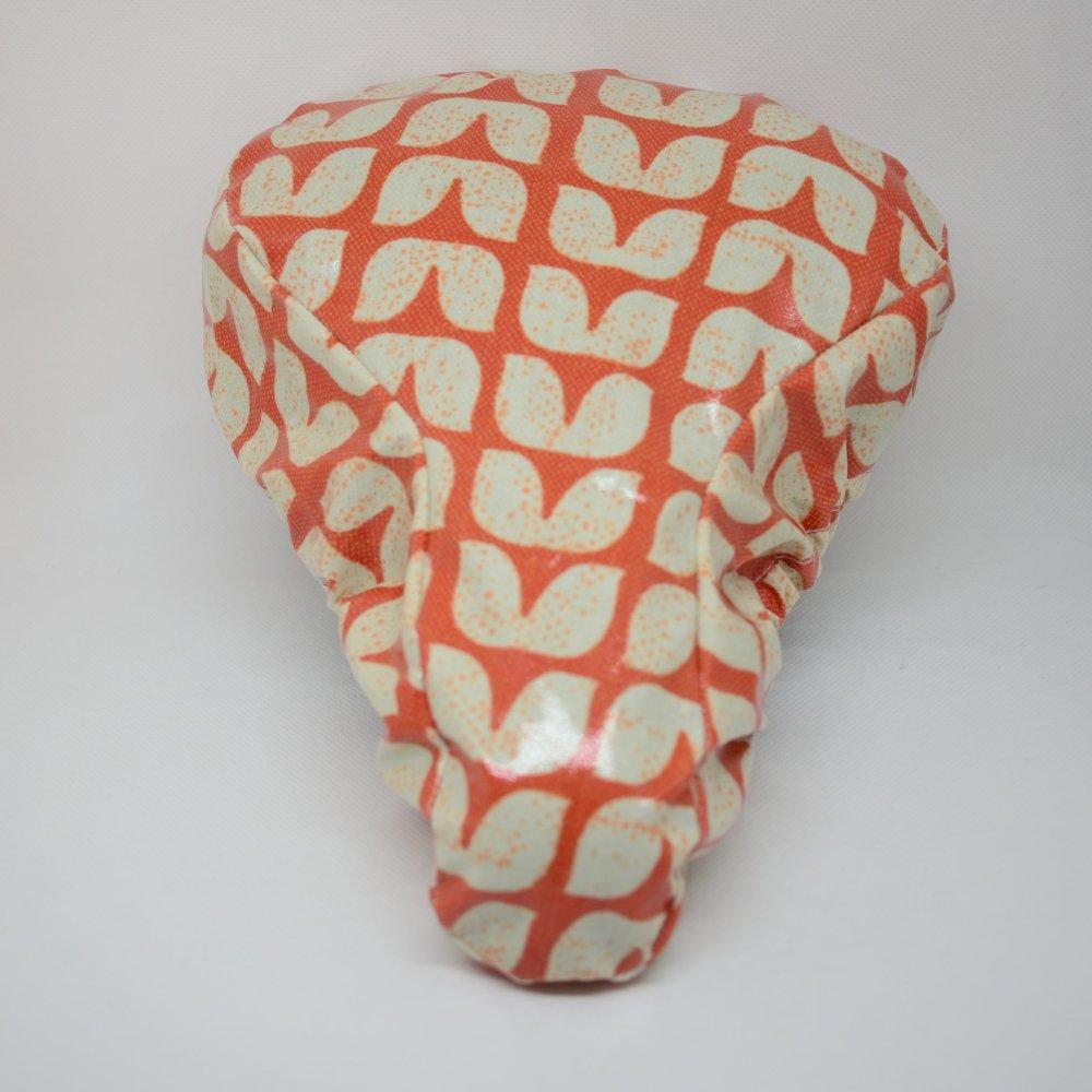 Housse pour selle de vélo, imperméable orange motif vintage--9995257820833