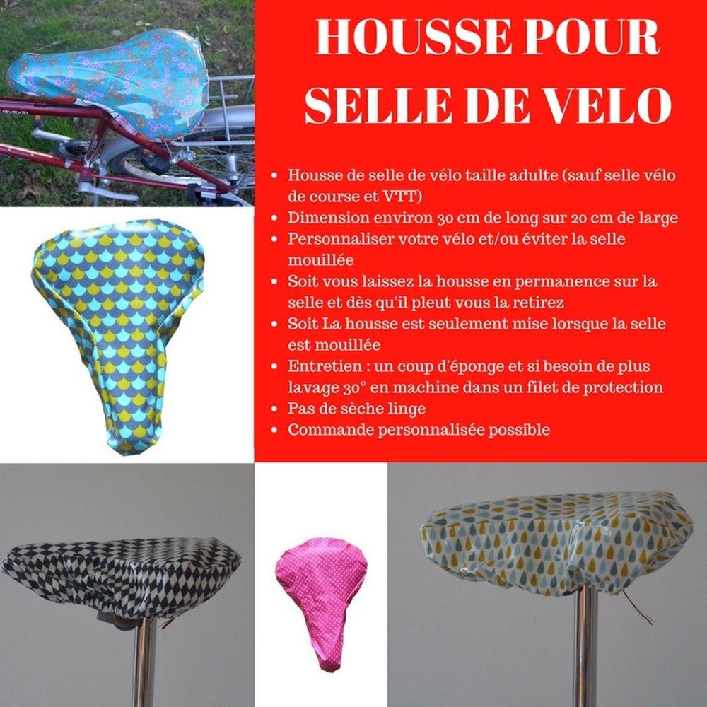 Housse pour selle de vélo, imperméable en tissu rouge à pois blanc--9995257819042