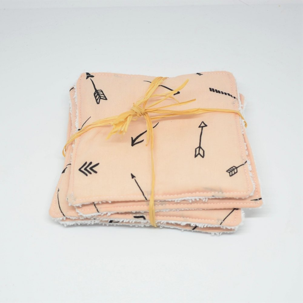 Lingettes lavables Tissu et eponge blanche, lot de 5, motif fleches fond nude--9995878945014