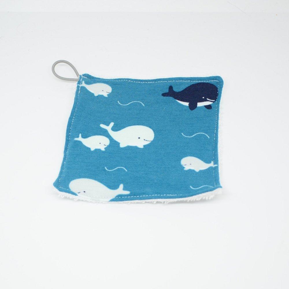 Lingettes lavables Tissu BIO et eponge bambou+ lien, lot de 3, motif baleines et orques--9995878926563
