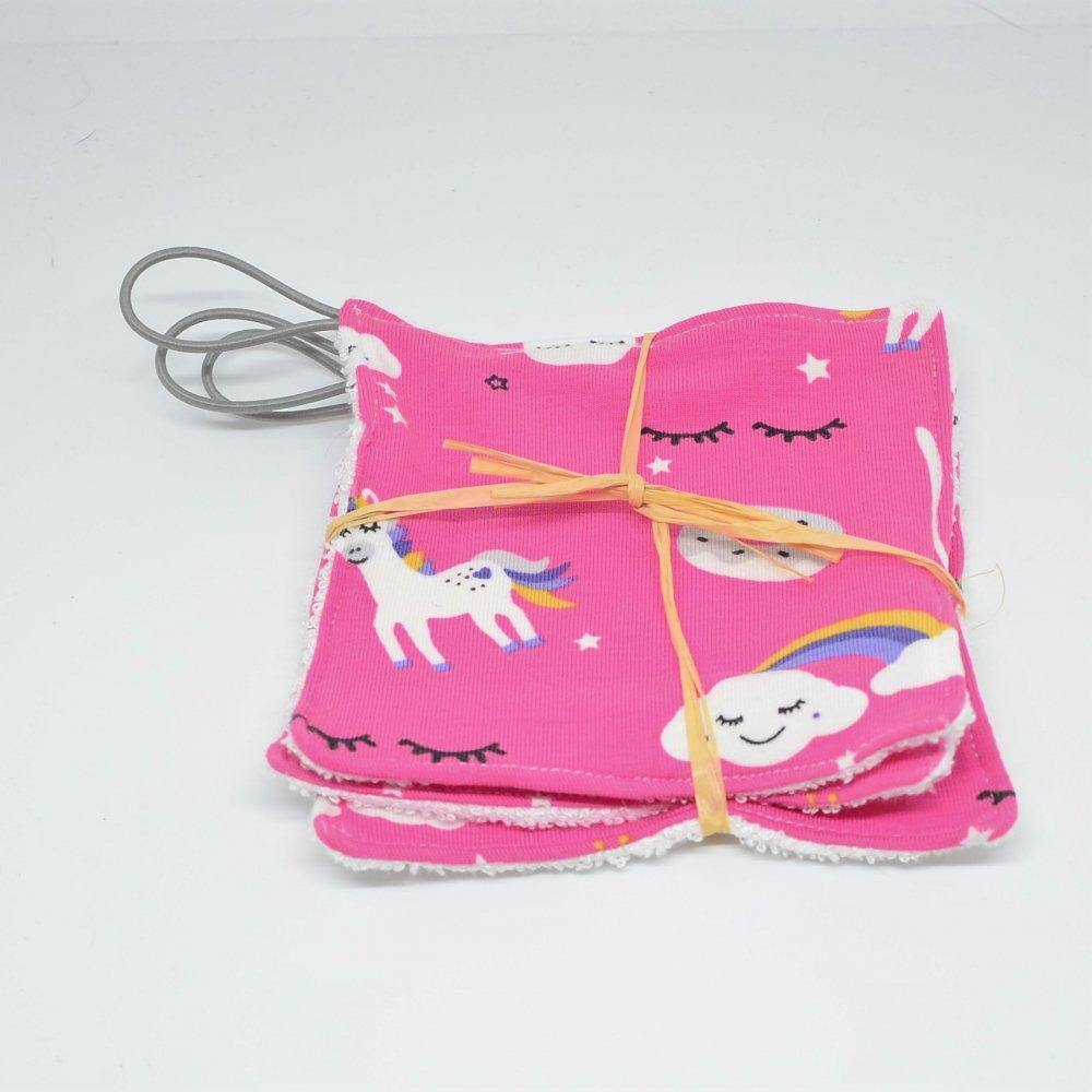 Lingettes lavables Tissu BIO et eponge bambou+ lien, lot de 3 motif licornes fond rose--9995878943034