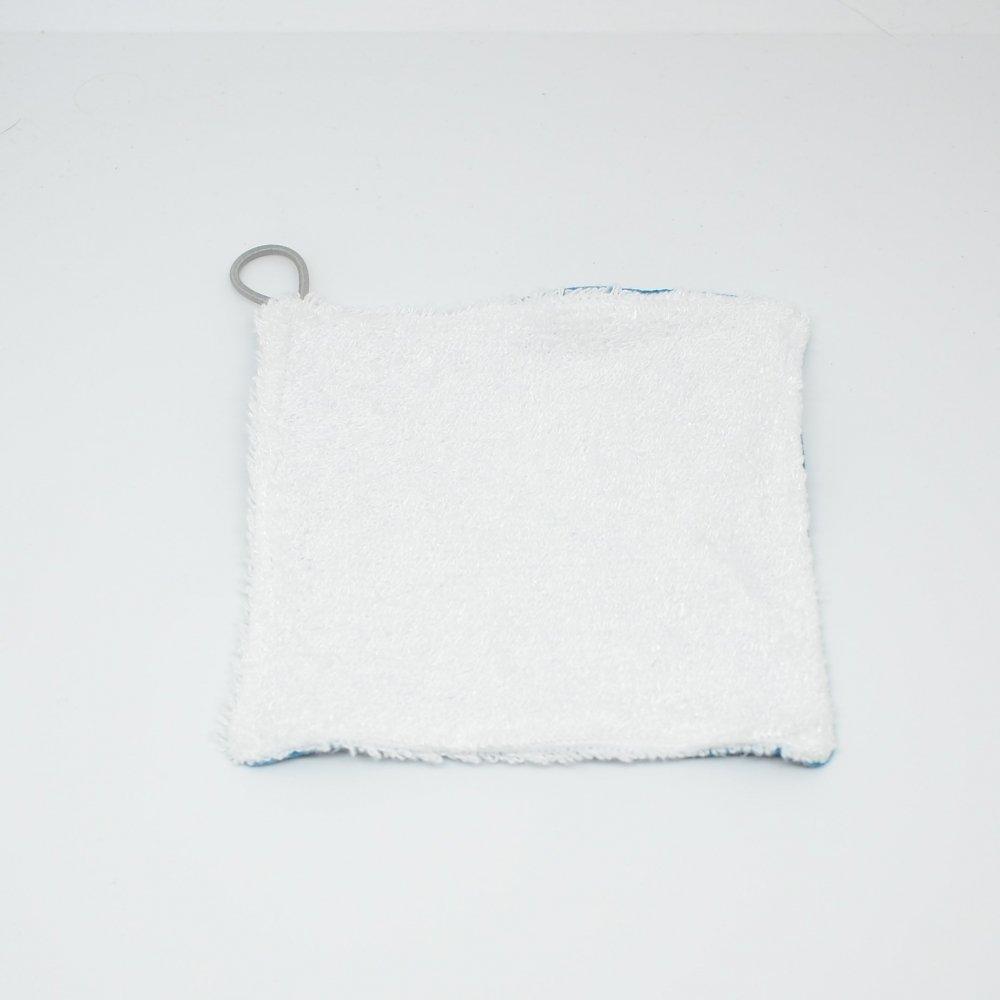 Lingettes lavables Tissu BIO et eponge bambou+ lien, lot de 3 motif plumes fond noir--9995878940460
