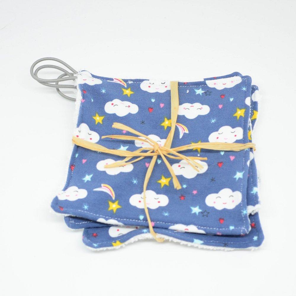 Lingettes lavables Tissu BIO et eponge bambou+ lien, lot de 3 motif nuages--9995878941450