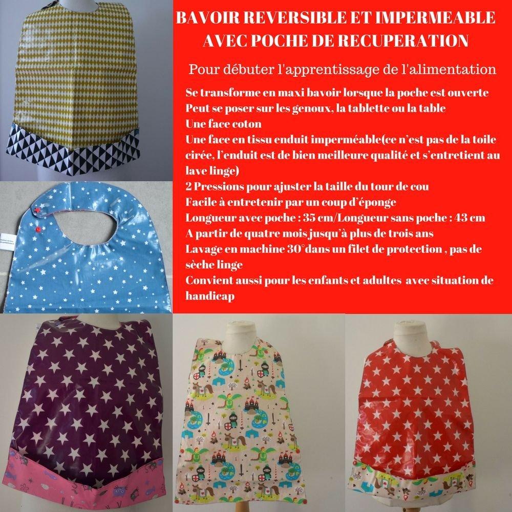 Maxi Bavoir Imperméable Réversible avec Poche Récupération Renard/etoiles--9995265834341