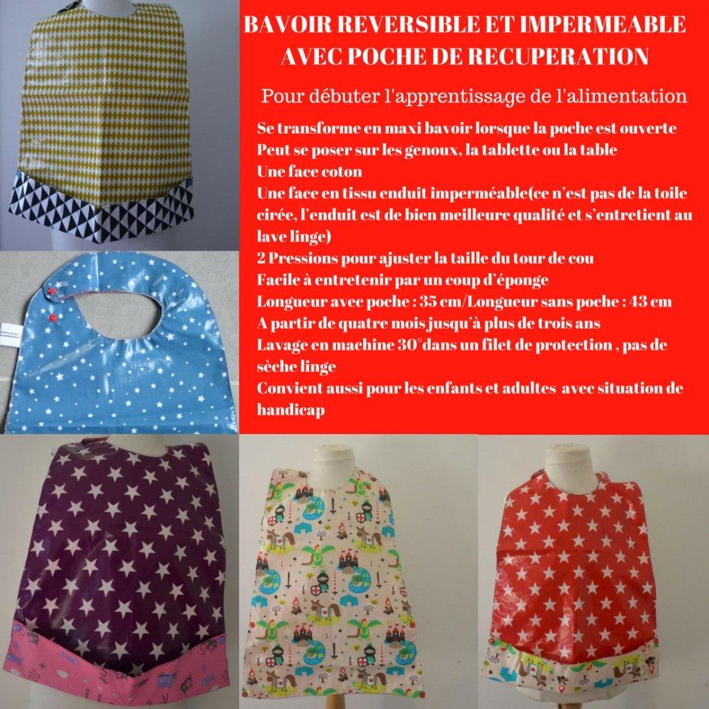 Maxi Bavoir Imperméable Réversible avec Poche Récupération Chevalier/etoiles--9995230162486